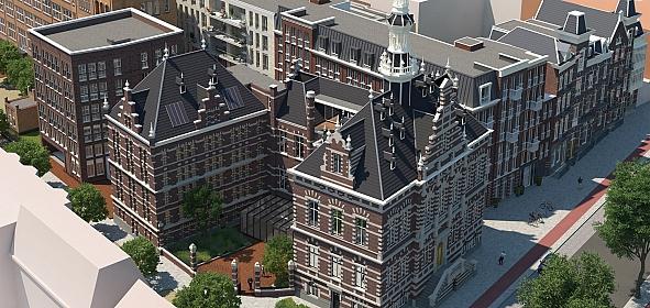 Vogelvlucht Pestana hotel Amsterdam; Raadhuis (voorgrond) met Archiefbewaarplaats (links), het Tolgebouw (linksachter), het Amsteldijkgebouw (rechtsachter)