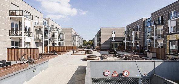 Villawal, getransformeerd naar wooncomplex Merwedehof. De binnentuin nog in aanbouw